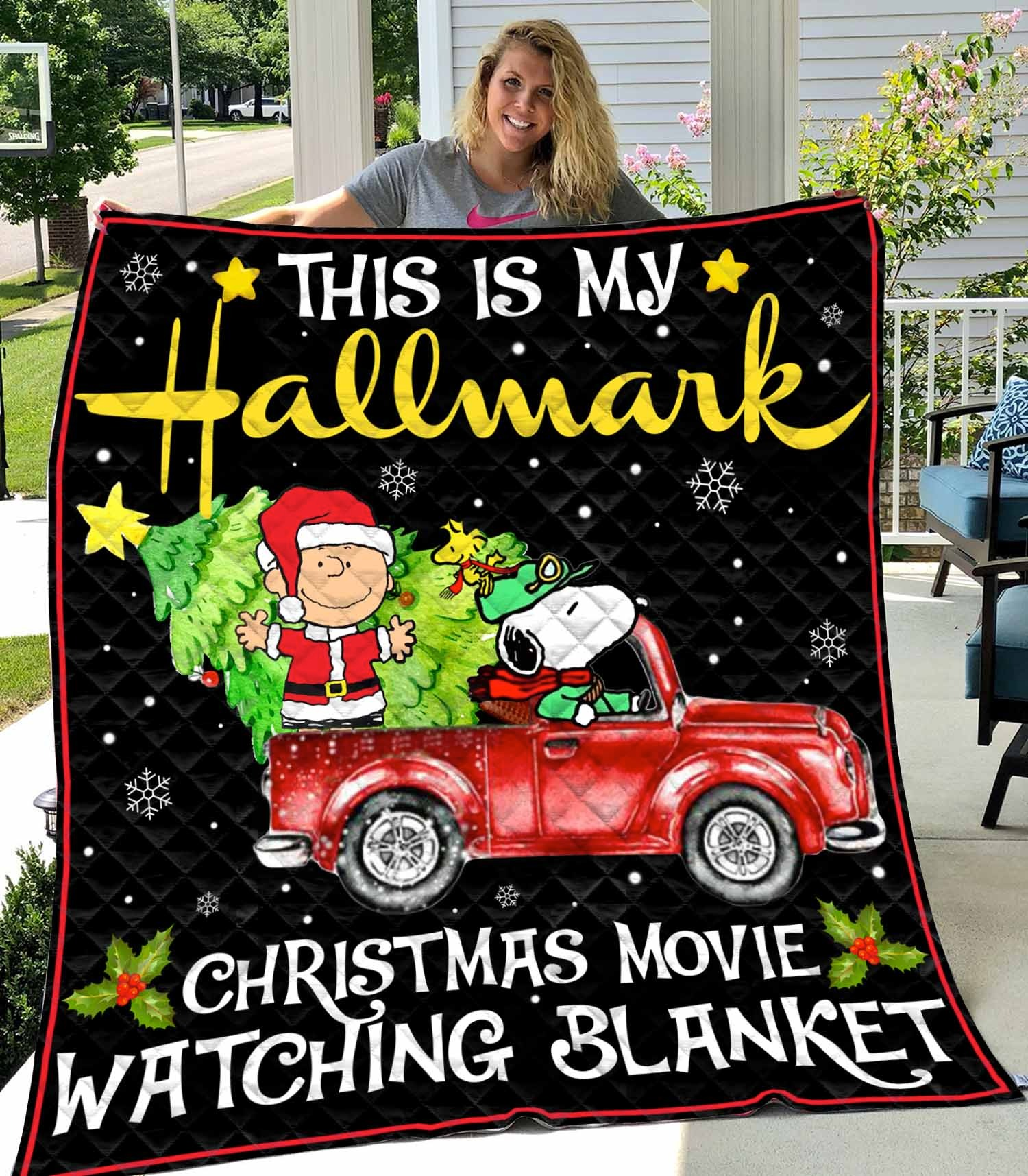 This is my Hallmark Christmas movie watching blanket Snoopy and Charlie Brown Quilts