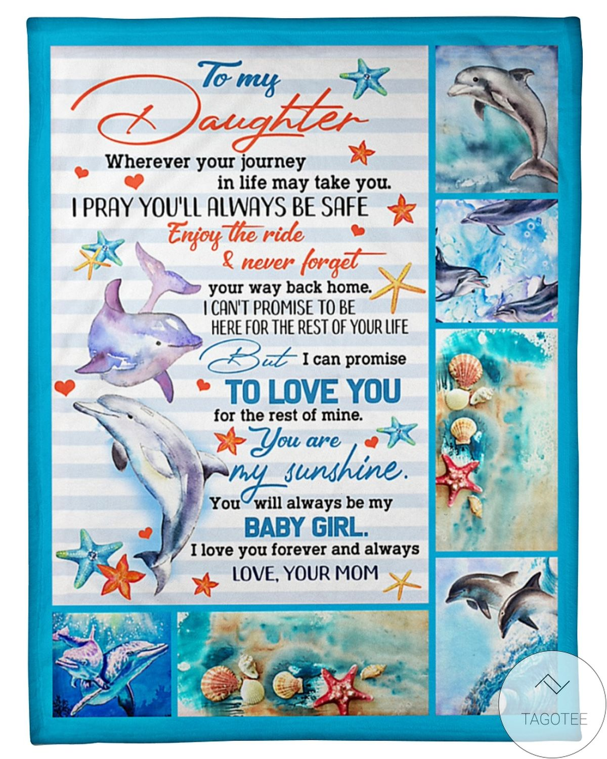 To My Daughter You're My Sunshine I Love You Forever And Always Dolphins Blanket