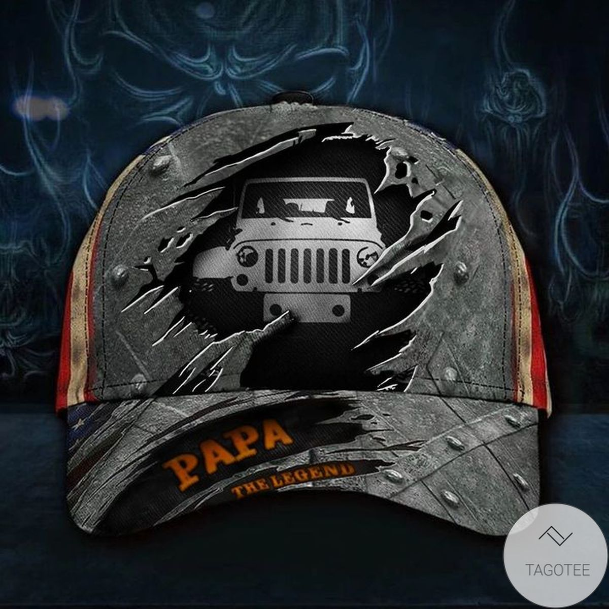 Truck Papa Legend 3D Hat USA Flag Cap Mens Gift For A Truck Driver Dad