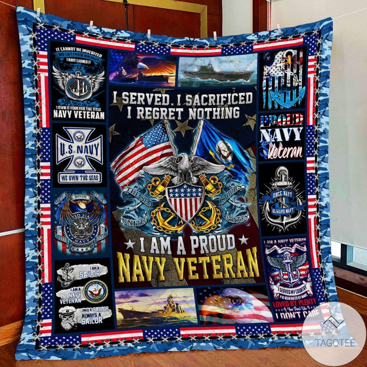 U.S. Navy I Am A Proud Navy Veteran Quilt