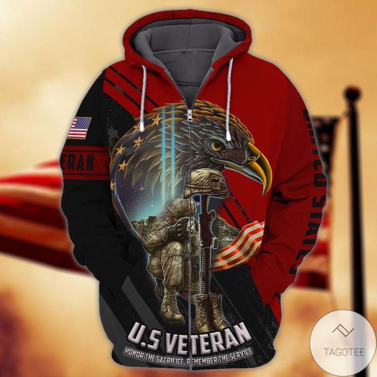 U.s Veteran Honor The Sacrifice Remember The Serve 3d Zip Hoodie