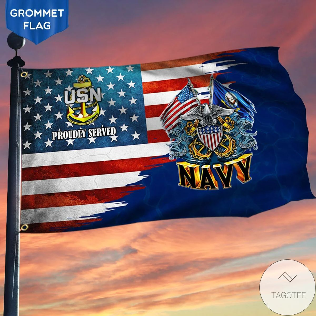U.s. Navy Proudly Served American Flag