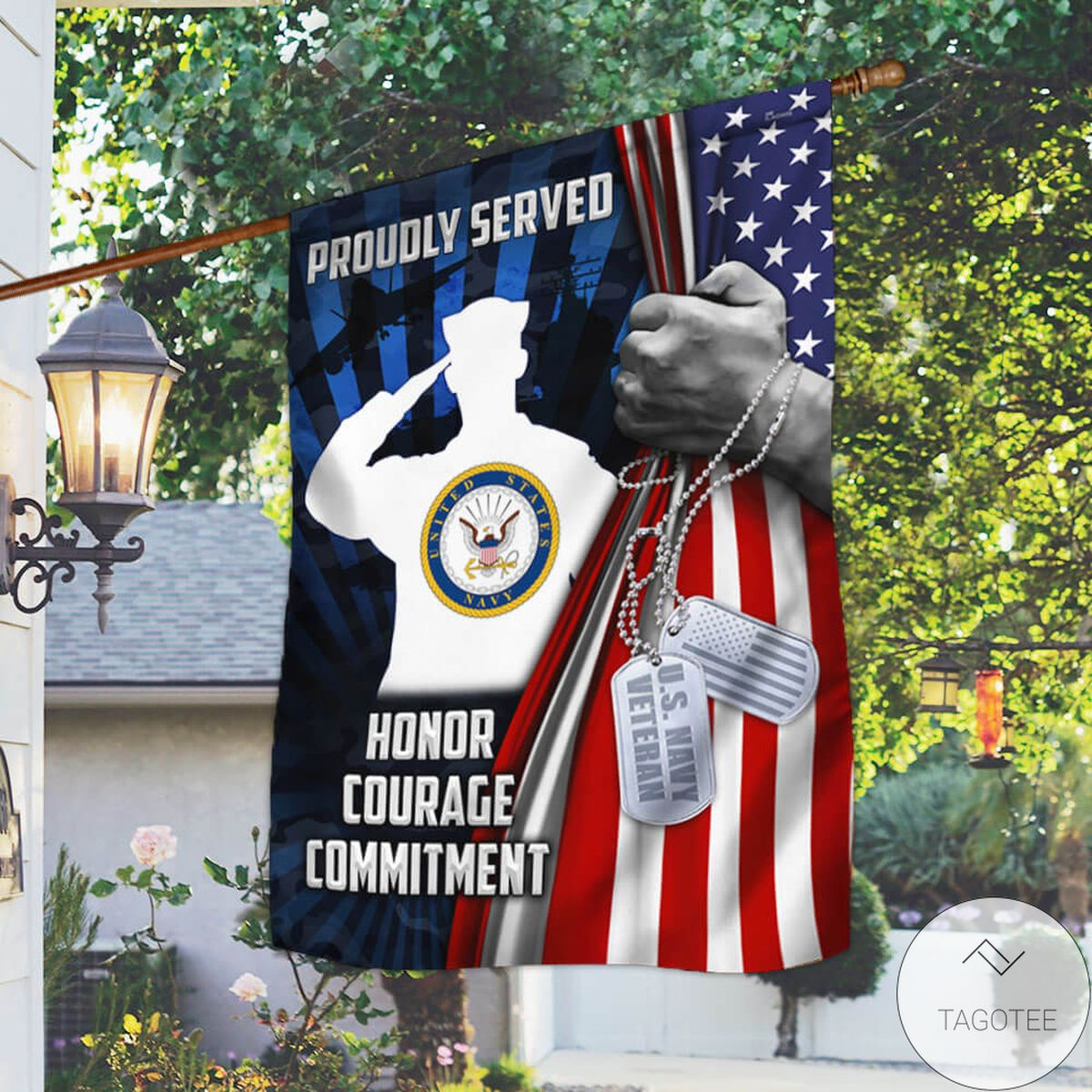 U.s. Navy Veteran Proudly Serve Honor Courage Commitment Flag