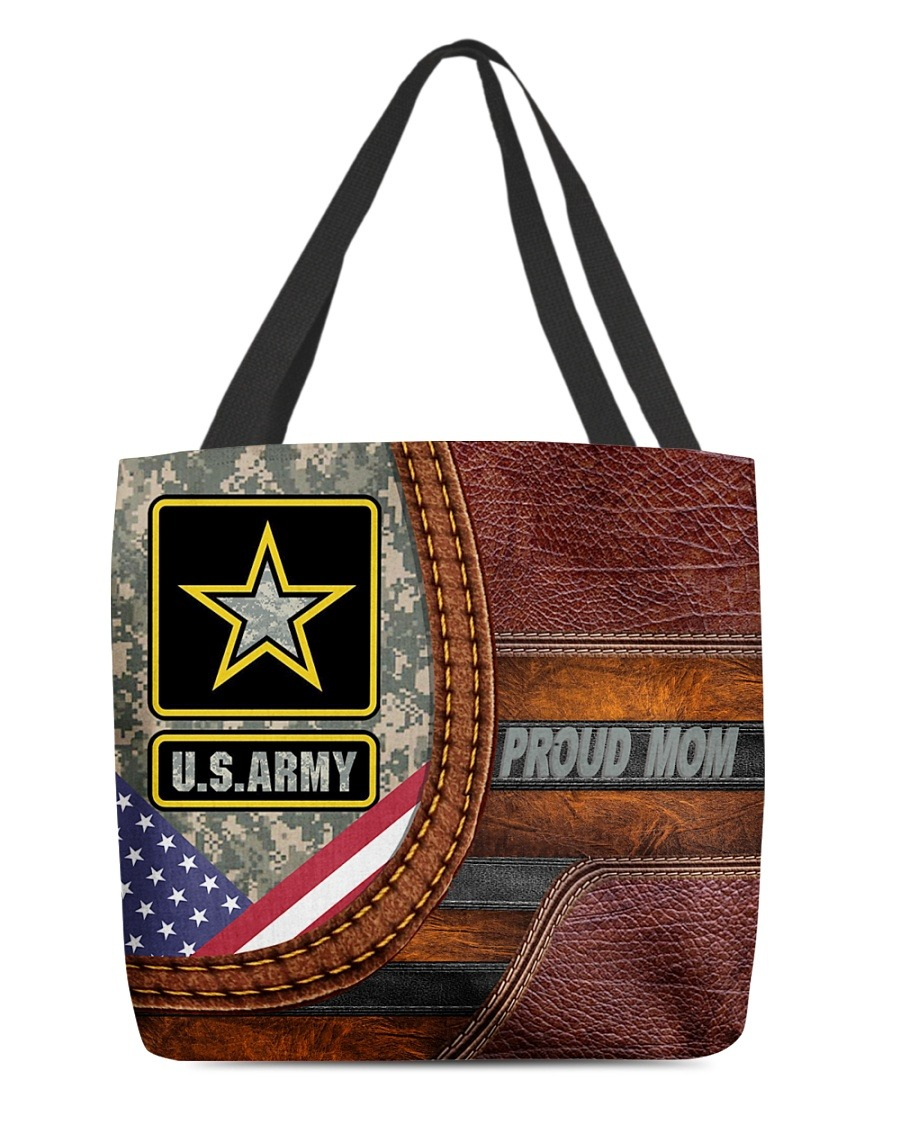 US Army Proud Mom Camo as Leather Zipper tote bag