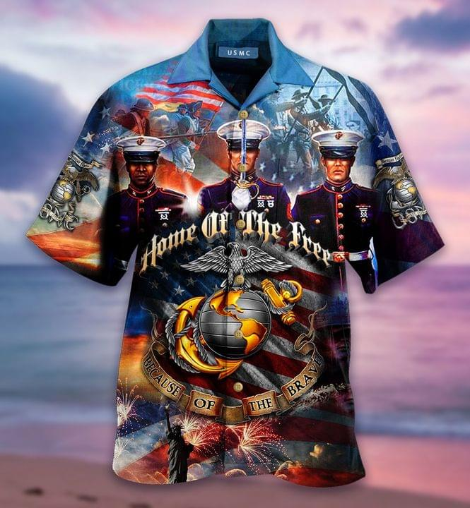 US Marine Corps Home of the free because of the brave hawaiian shirt