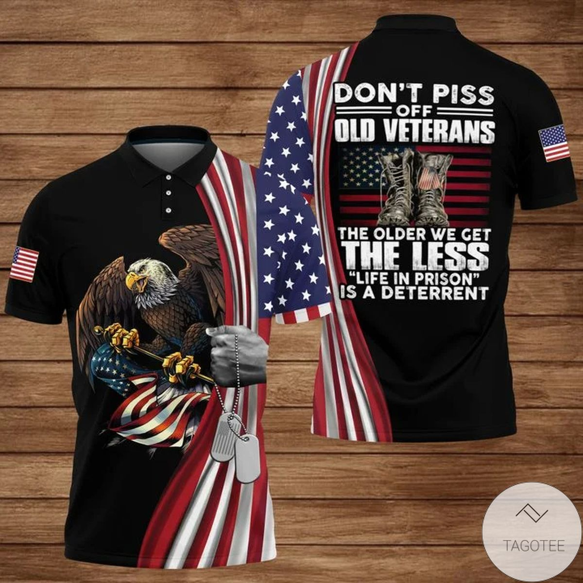 US Veterans Don't Piss Off Old People The Older We Get The Less Polo Shirt