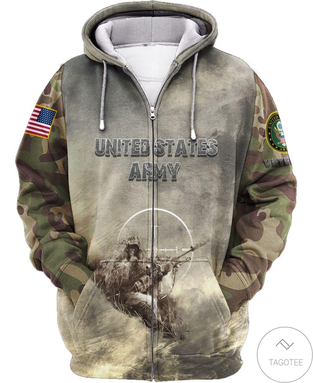 Us Army Grey Camo Zip Hoodie