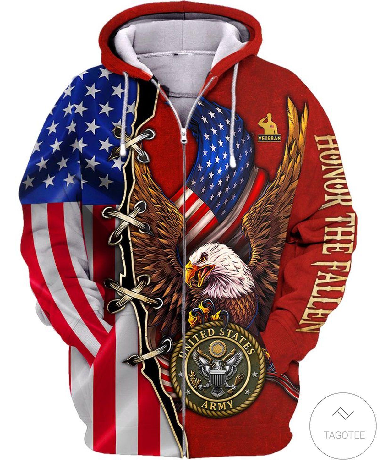 Us Army Horor The Faith Zip Hoodie