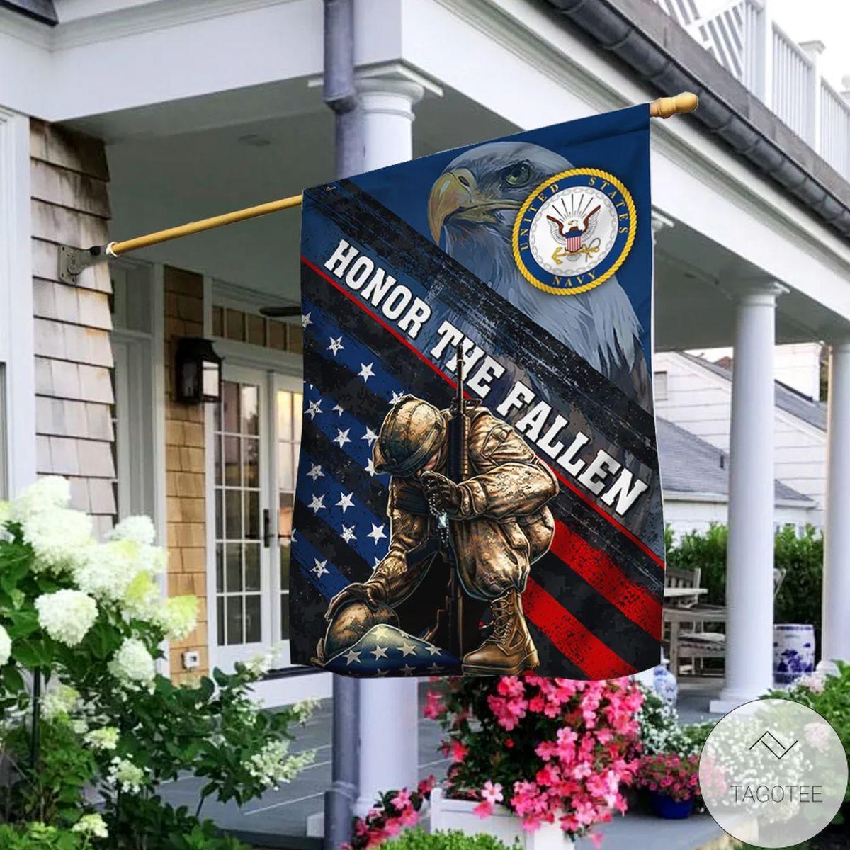 Us Honor The Fallen Navy Flag