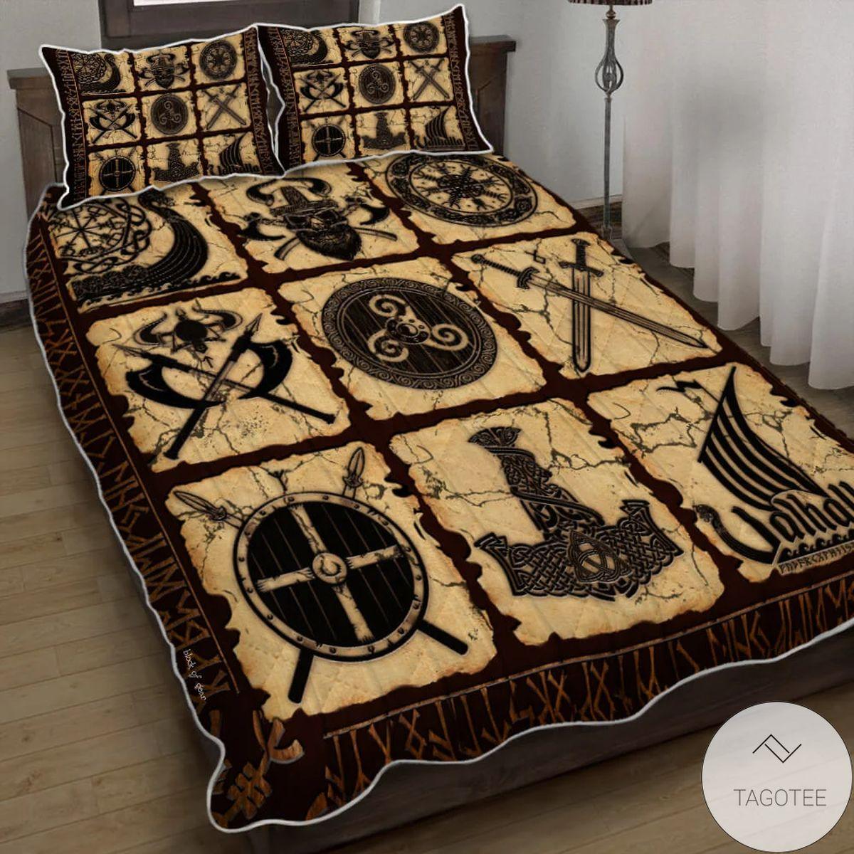 Viking Symbols Quilt Bedding Set