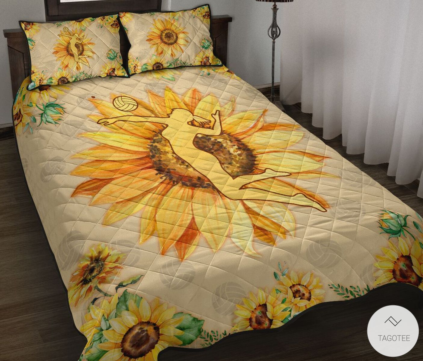 Volleyball Girl Sunflower Quilt Bedding Set