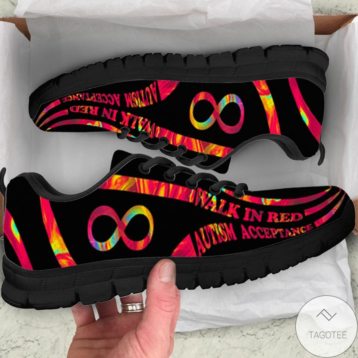 Walk In Red Autism Acceptance Sneakers