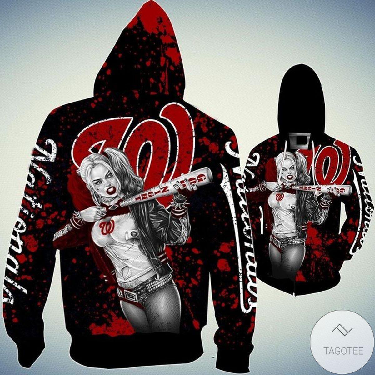 Washington Nationals Harley Quinn 3D Hoodie
