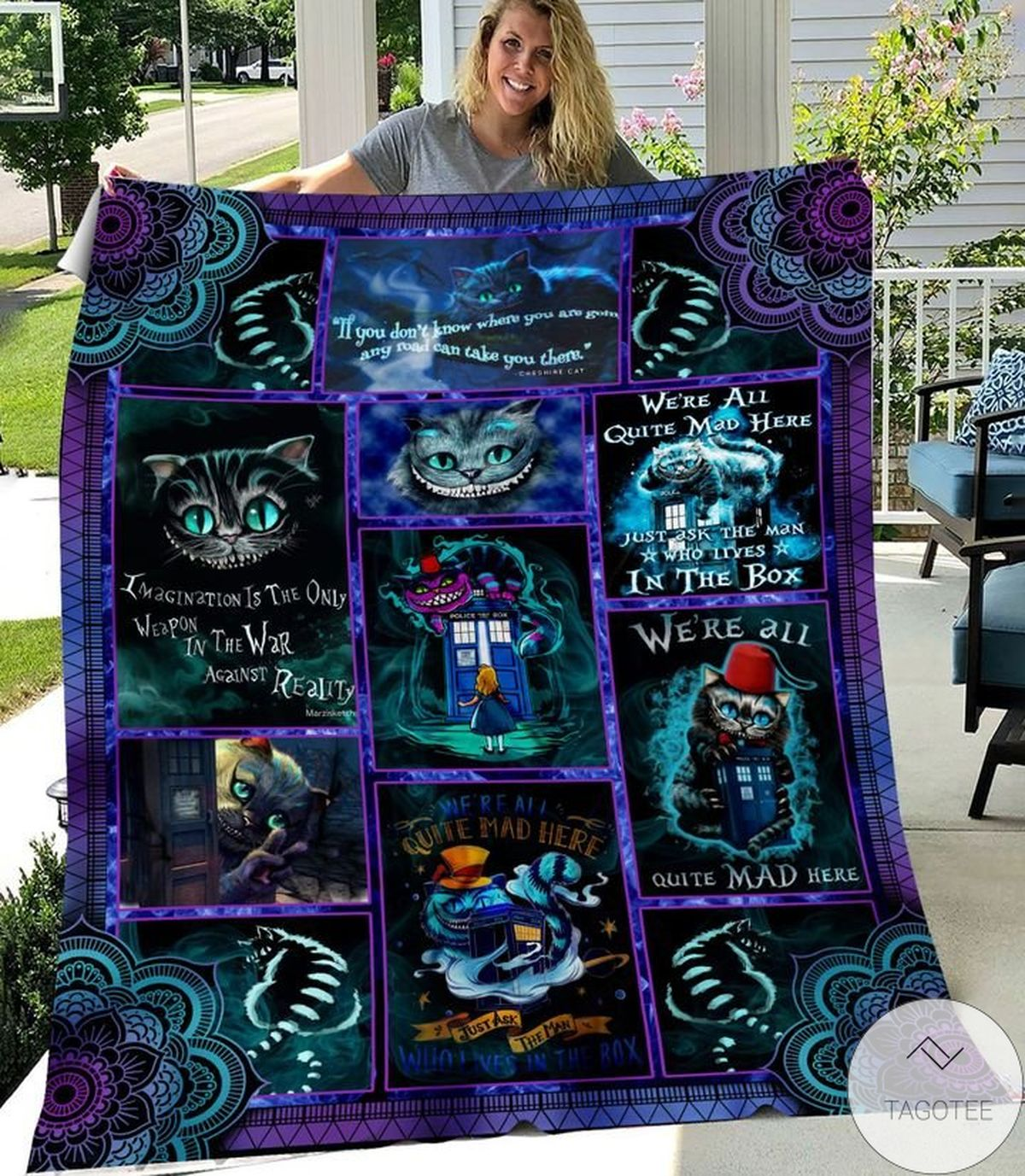 Clothing We All Mad Here Cheshire Cat Dr.who Blanket