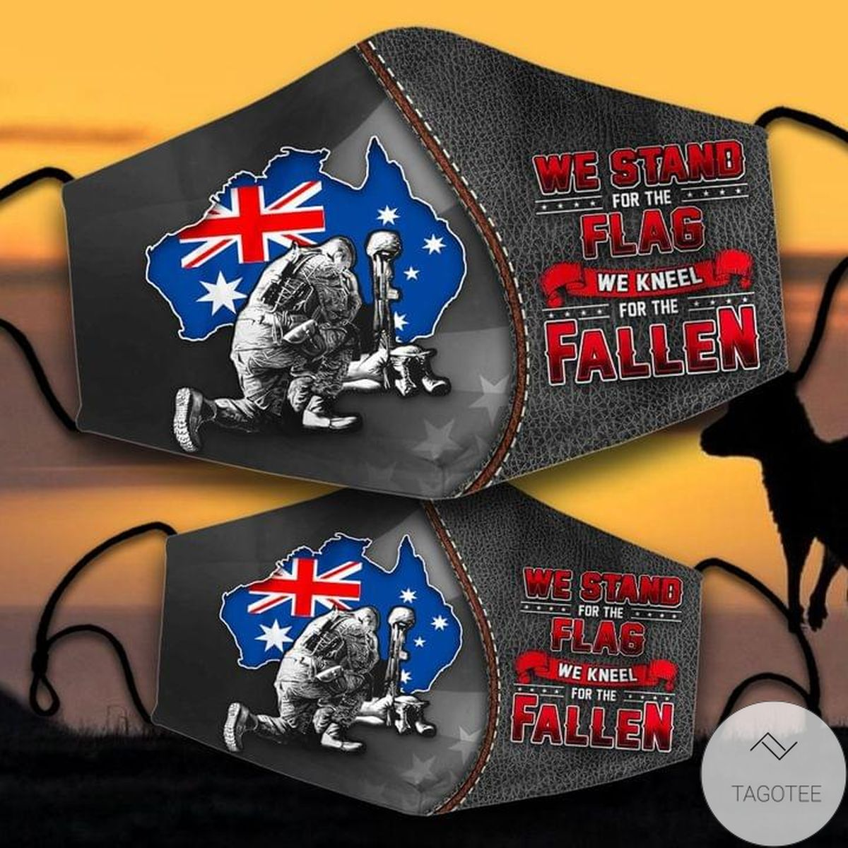 We Stand For The Flag And Kneel For The Fallen Australian Veteran Mask