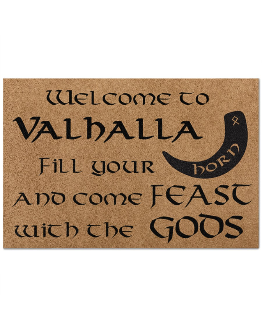 Welcome to Valhalla fill your horn and come feast with the GODS doormat