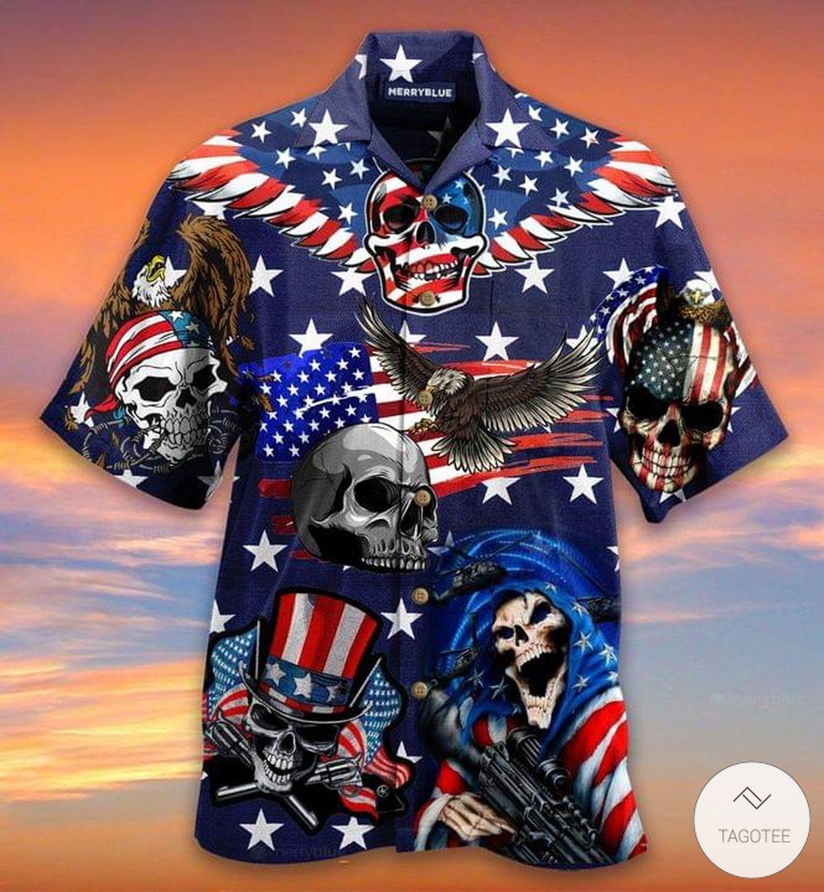 Where We Go One We Go All Patriotic Skull Hawaiian Shirt!