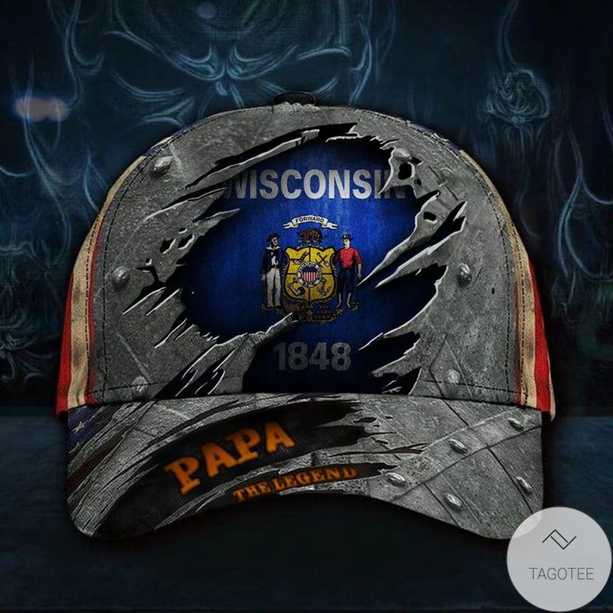Wisconsin Papa The Legend 3D Hat Vintage USA Flag Cap Dad Day Gift Father's Day Ideas