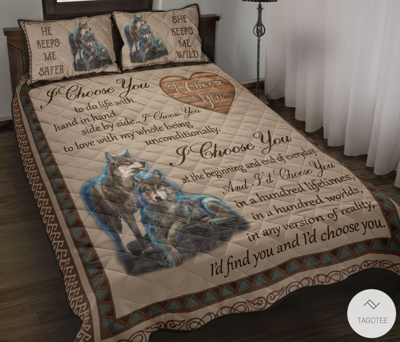 Wolf Couple I Choose You Quilt Bedding Set