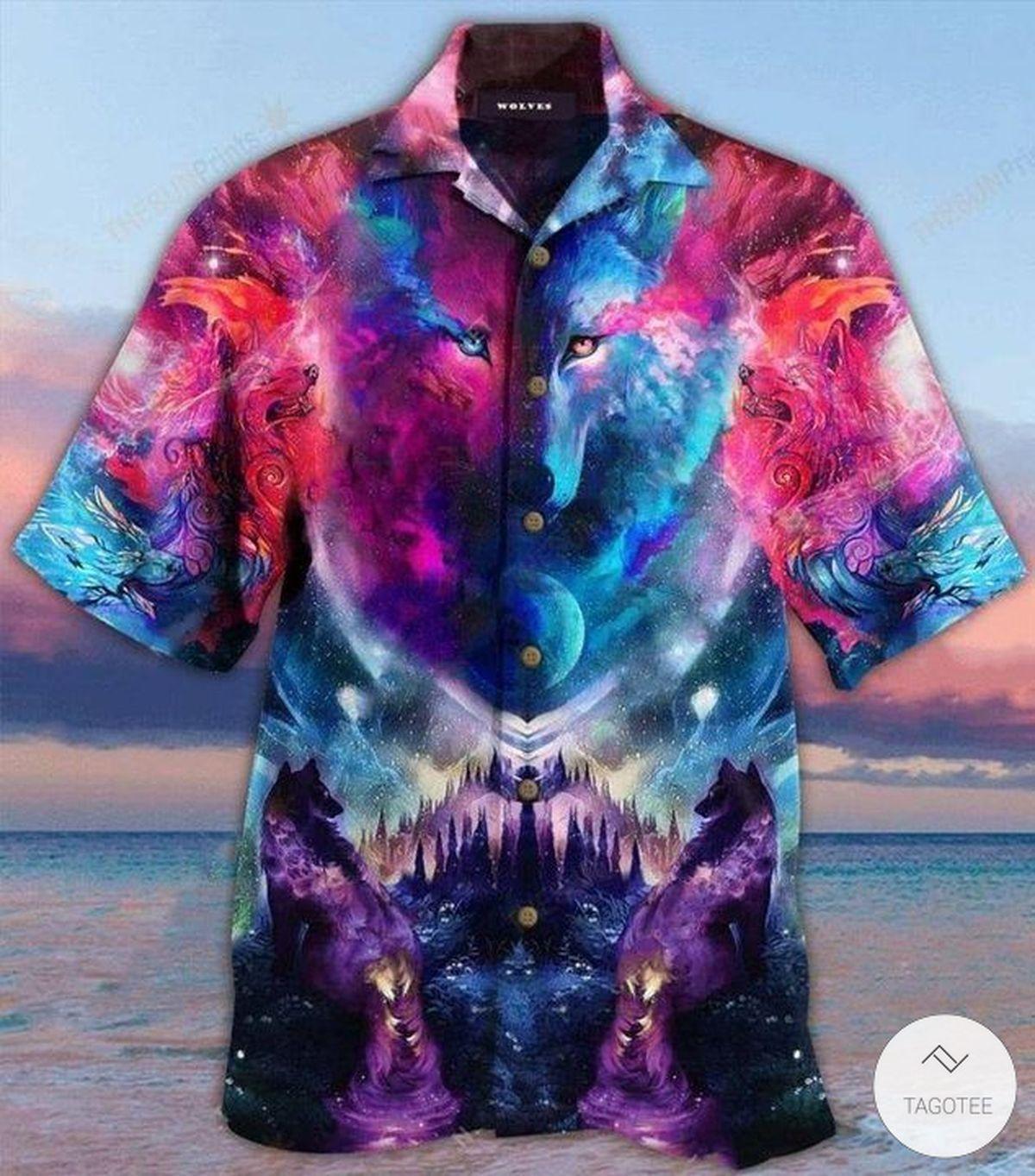 Wolf Galaxy Hawaiian Shirt