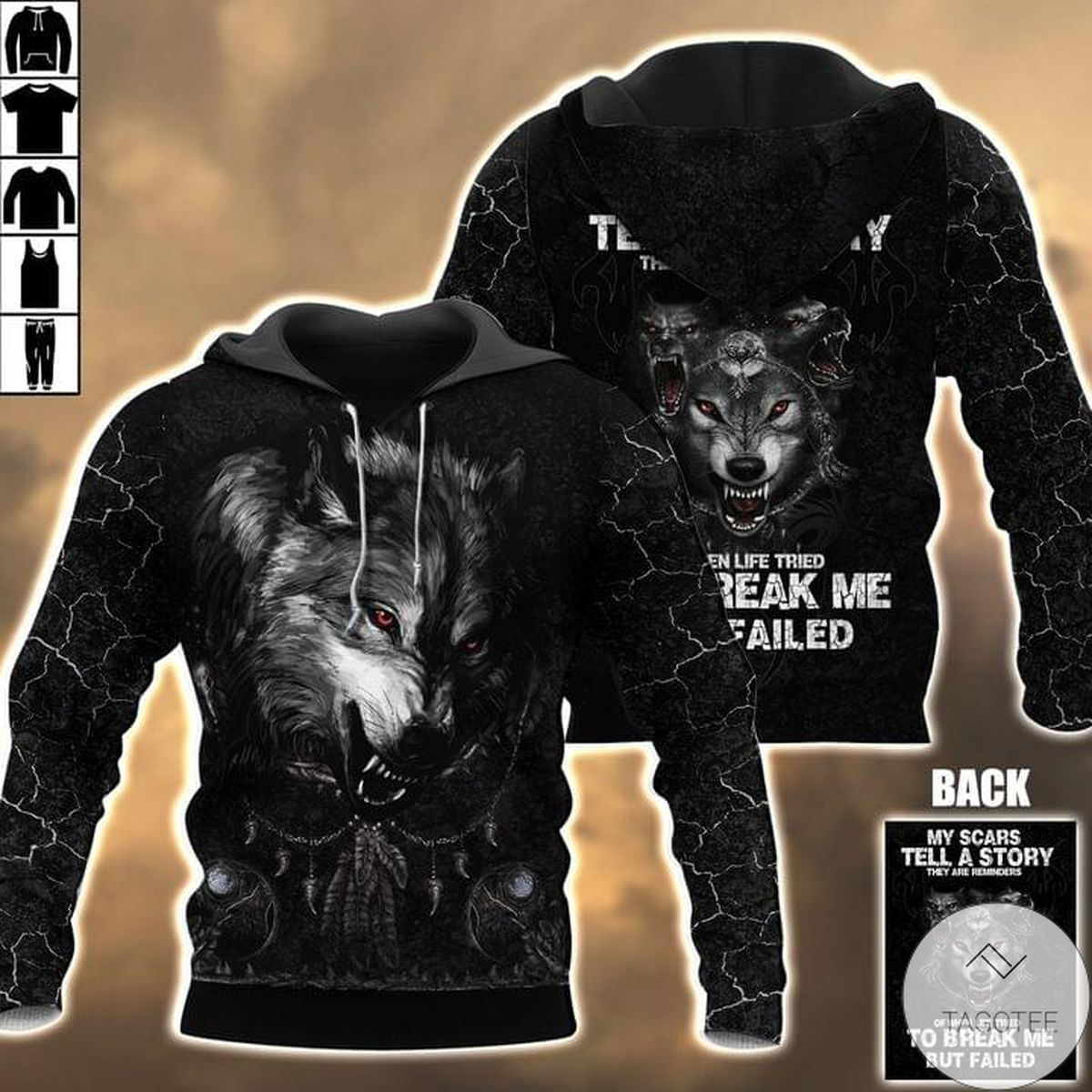 Wolf My Scars Tell A Story Hoodie