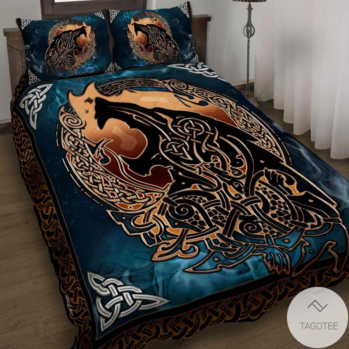 Wolf Viking Blue Quilt Bedding Set
