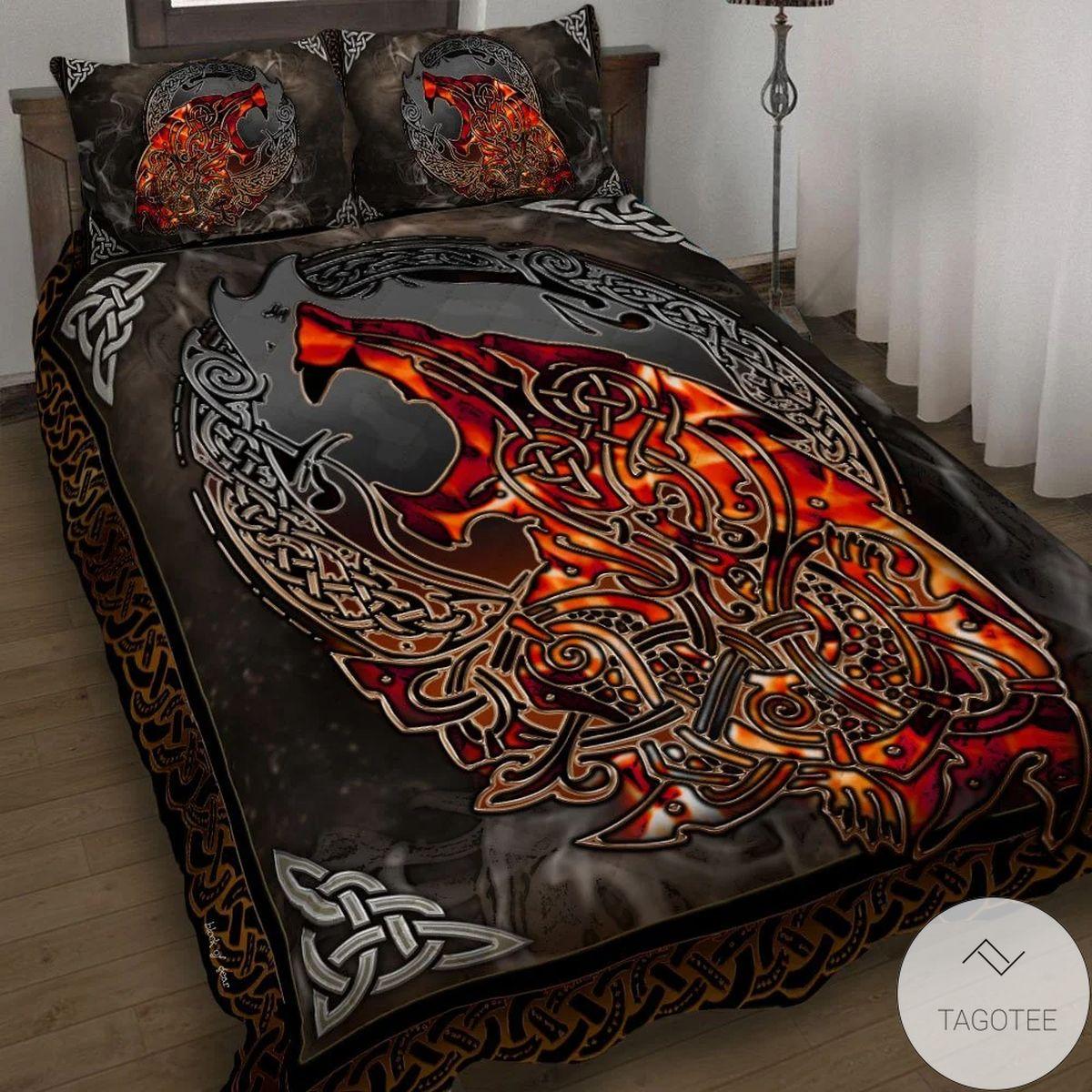 Wolf Viking Red Fire Quilt Bedding Set