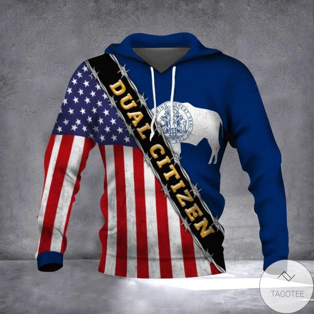 Wyoming Dual Citizen American Wyoming State Flag Hoodie