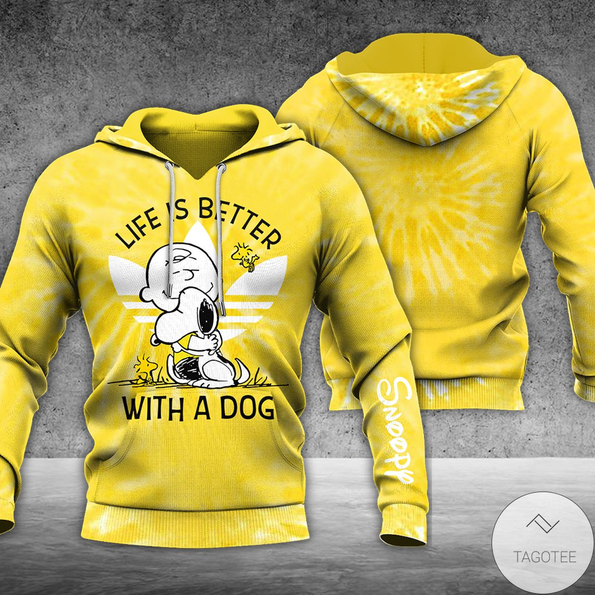 Yellow Tie Dye Life's Better With A Dog Snoopy 3d Hoodie