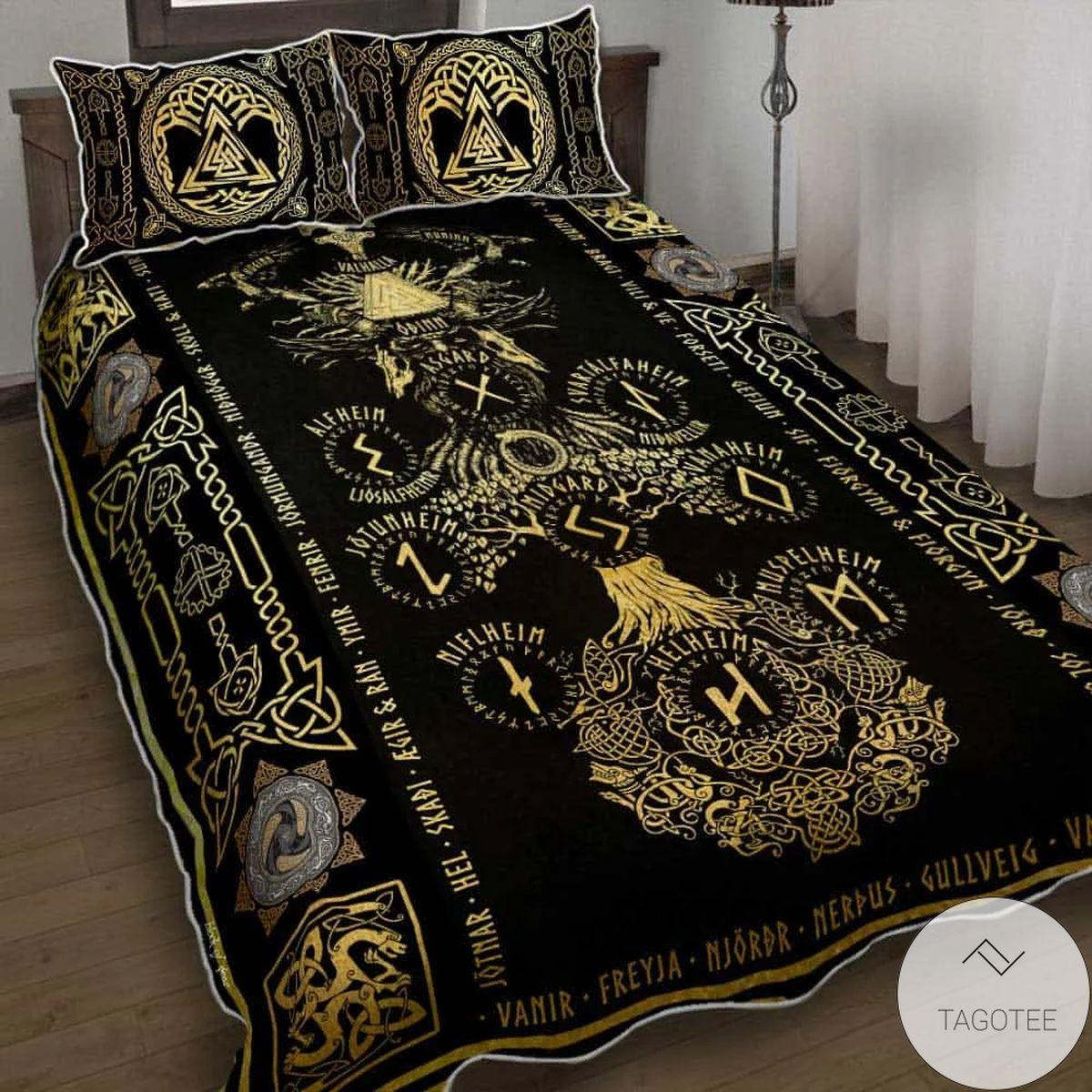 Yggdrasil Viking Odin Valhalla Tree Of Life Quilt Bedding Set