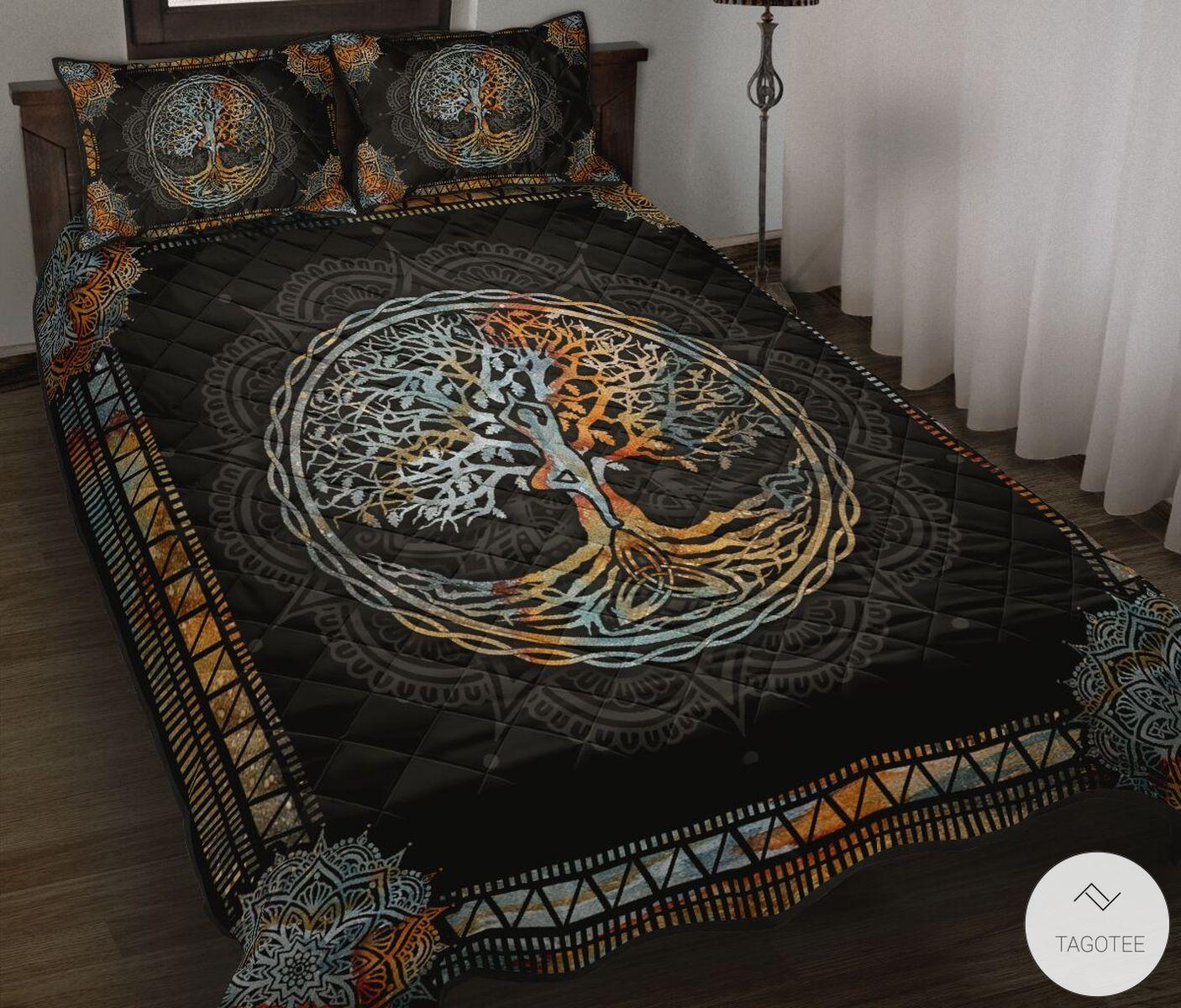 Yoga Tree Mandala Quilt Bedding Set