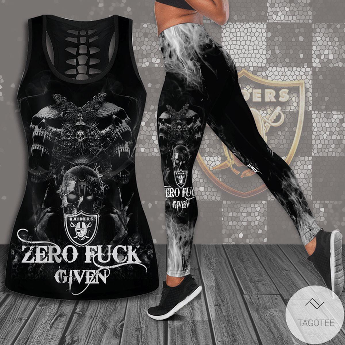 Zero Fuck Given Las Vegas Raiders Hollow Tank Top & Leggings Set
