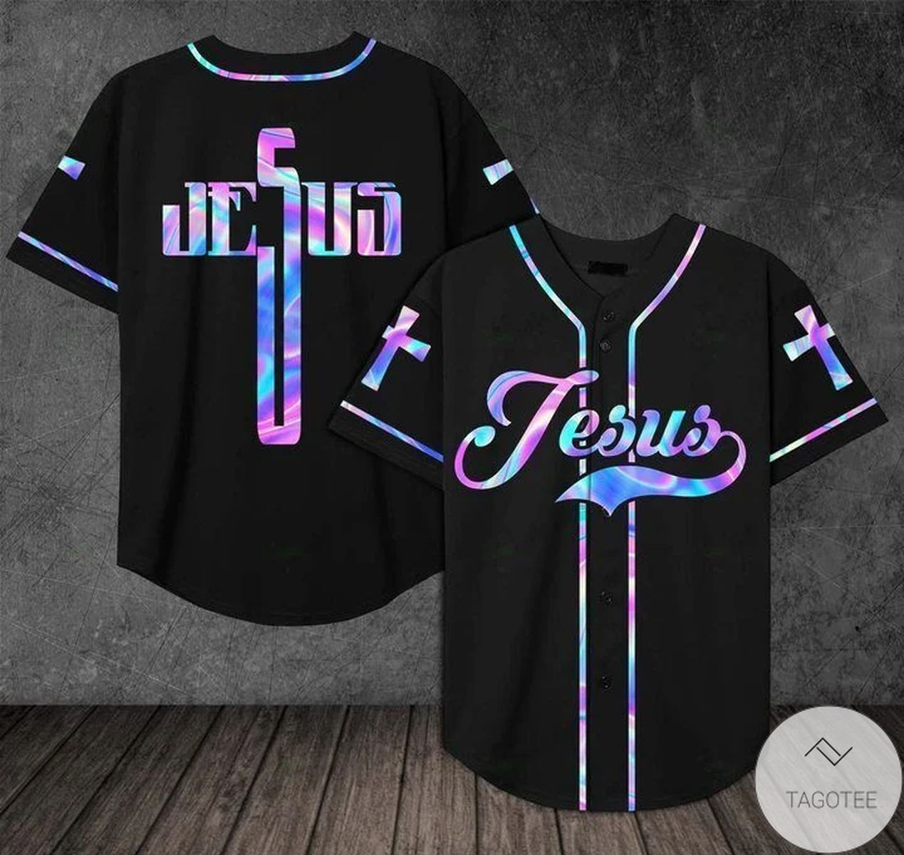 Jesus - Hologram Cross Baseball Jersey