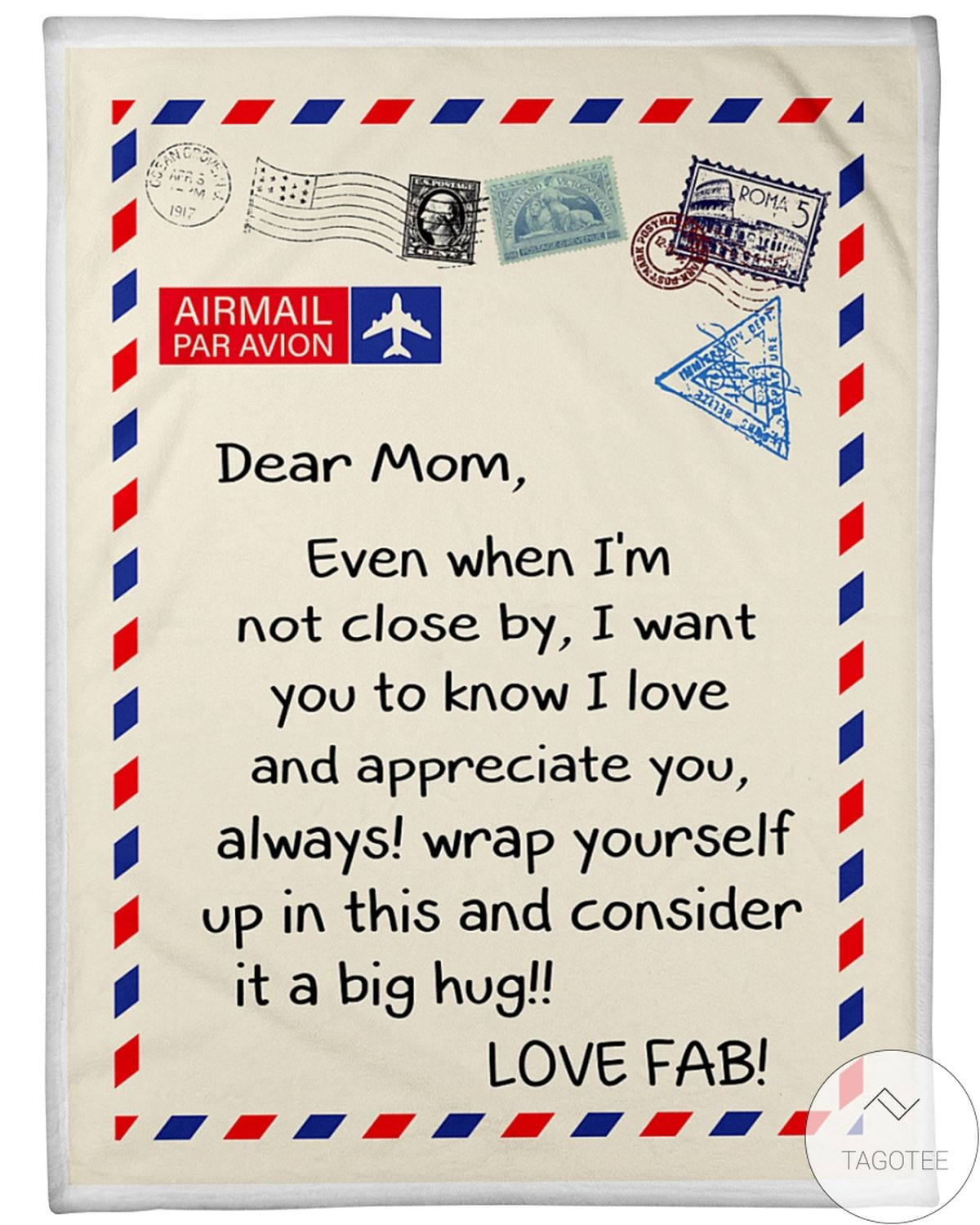 Airmail Dear Mom Even When I'm Not Close By Love Fab Blanket