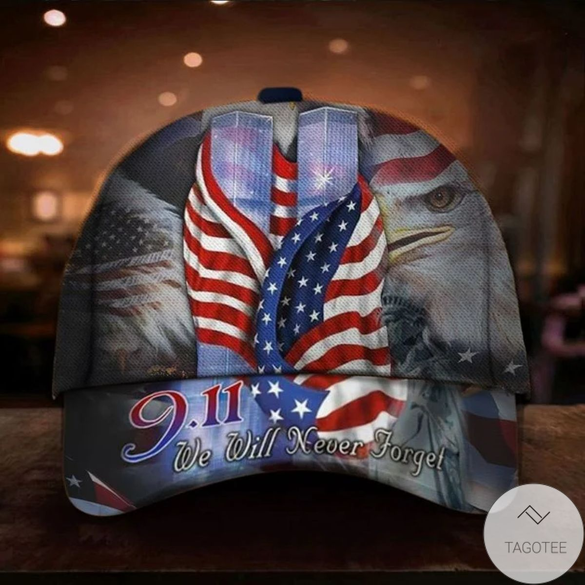 9.11 Never Forget Eagle USA Flag Cap In Memorial Twin Tower Attacks Patriot Day Merch