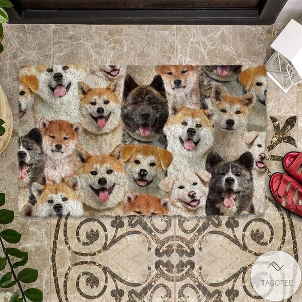 Awesome A Bunch Of Akita Inus Doormat