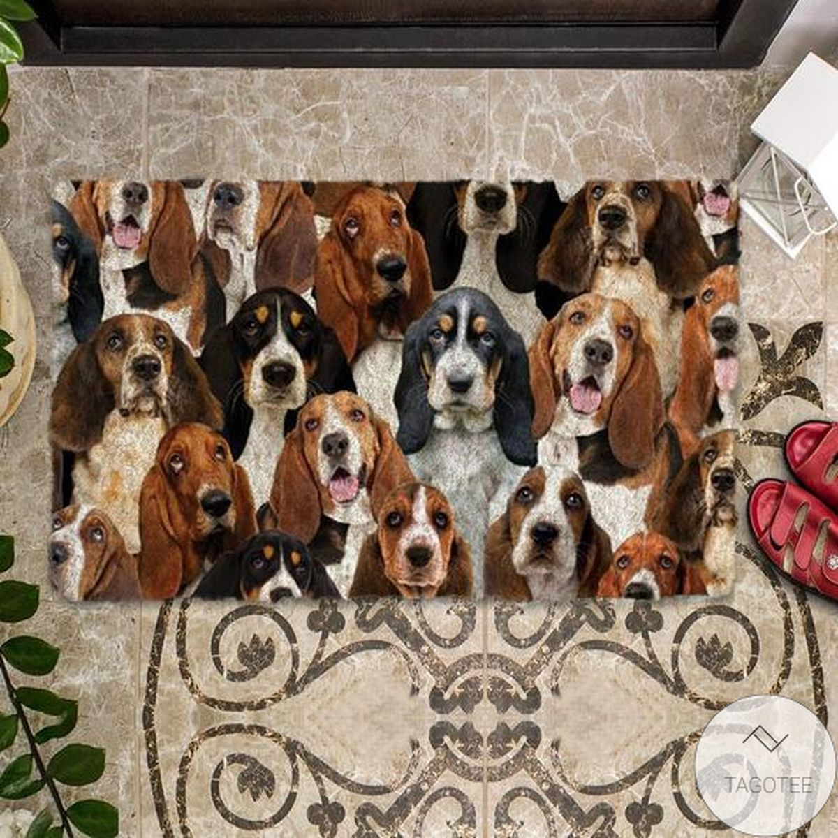 Top Selling A Bunch Of Basset Hounds Doormat