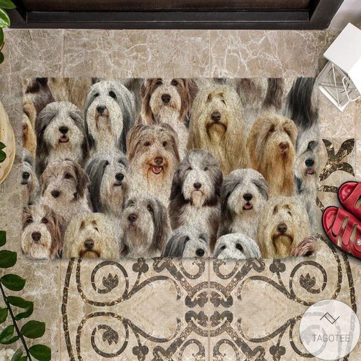Hot A Bunch Of Bearded Collies Doormat