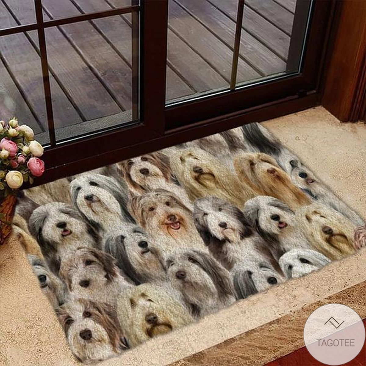 A Bunch Of Bearded Collies Doormat