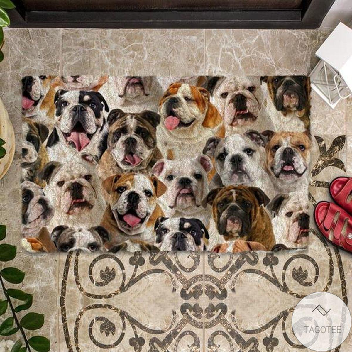 A Bunch Of EnglishBritish Bulldogs Doormat a
