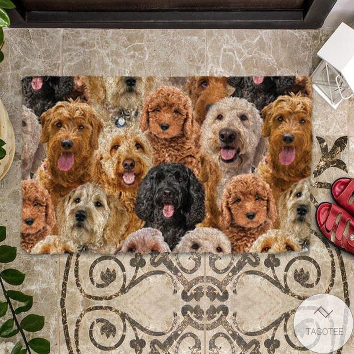 Us Store A Bunch Of Goldendoodles Doormat