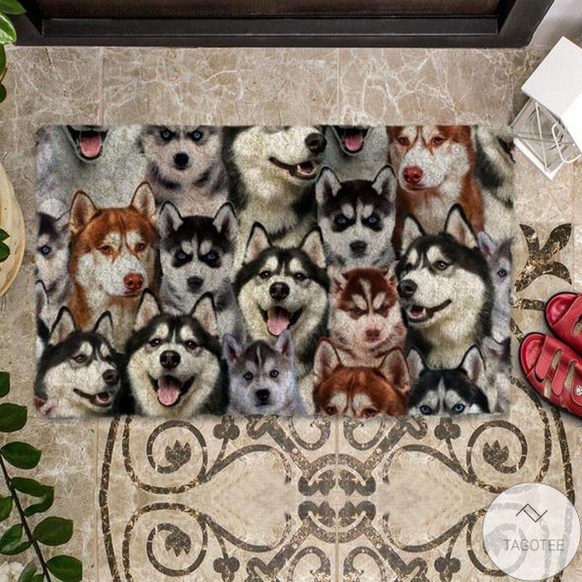 Top Selling A Bunch Of Huskies Doormat