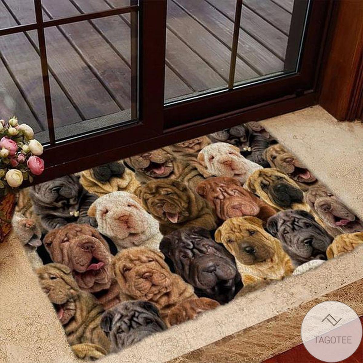 A Bunch Of Shar Peis Doormat