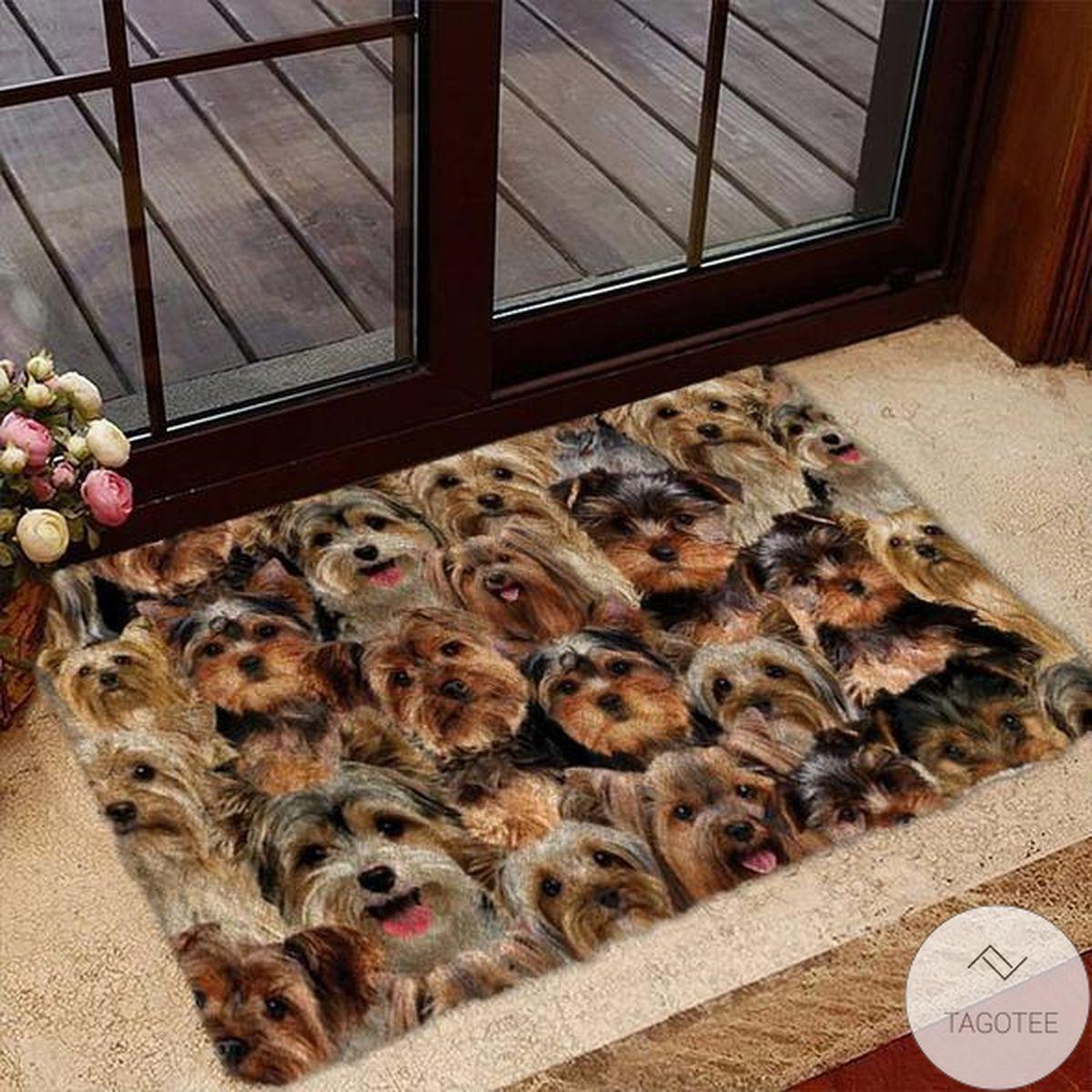 A Bunch Of Yorkshire TerriersYorkie Doormat