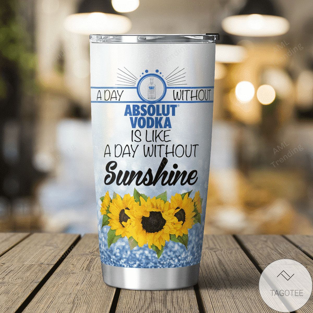 Top Absolut Vodka With Stitch And Sunflower Tumbler