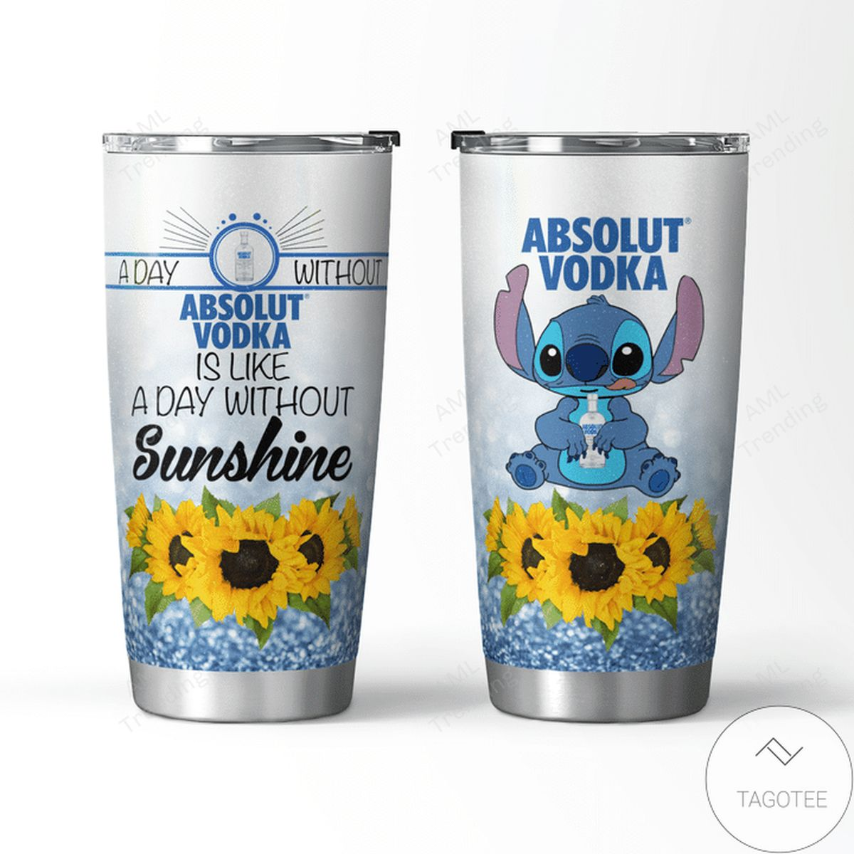 Absolut Vodka With Stitch And Sunflower Tumbler