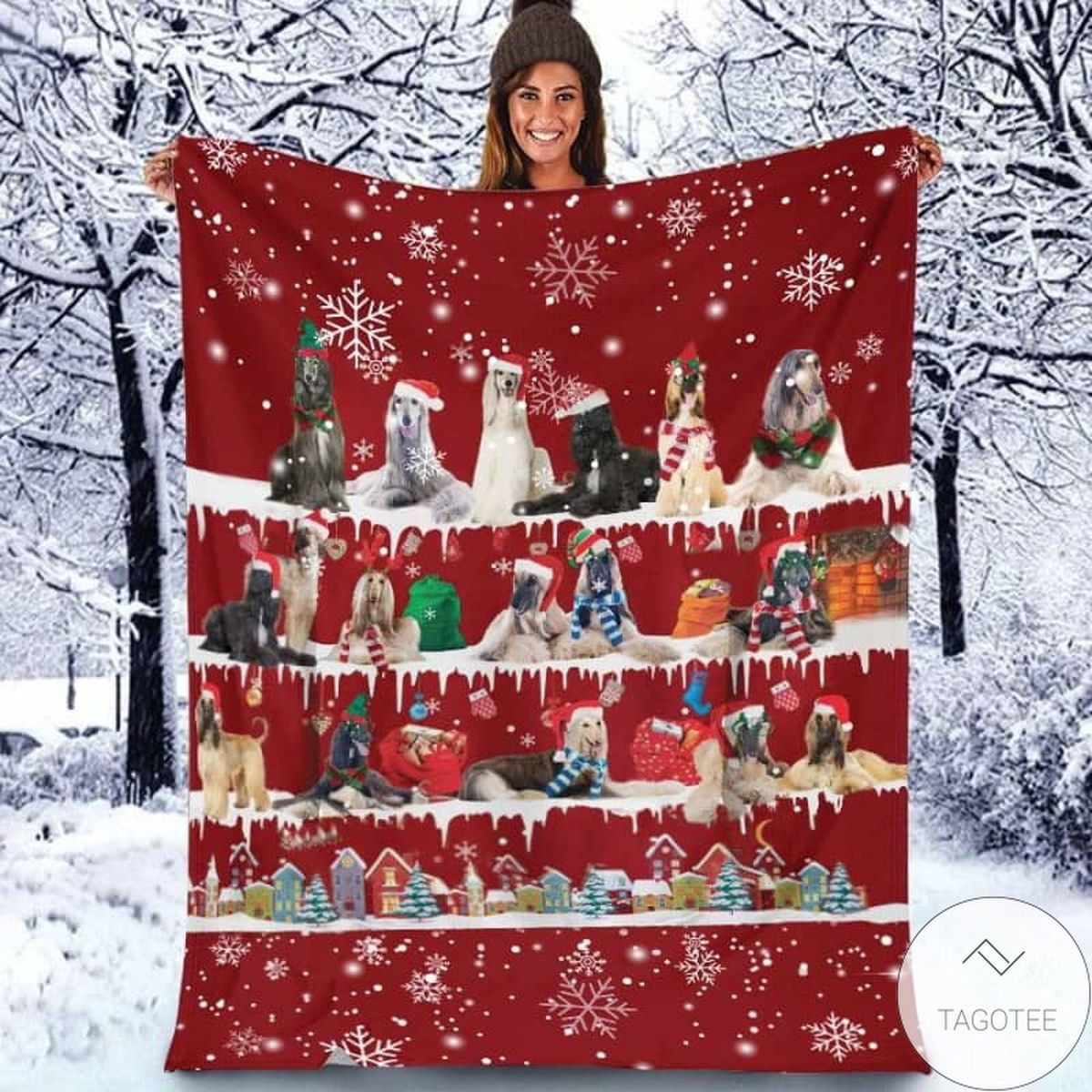 Afghan Hound - Christmas Blanket