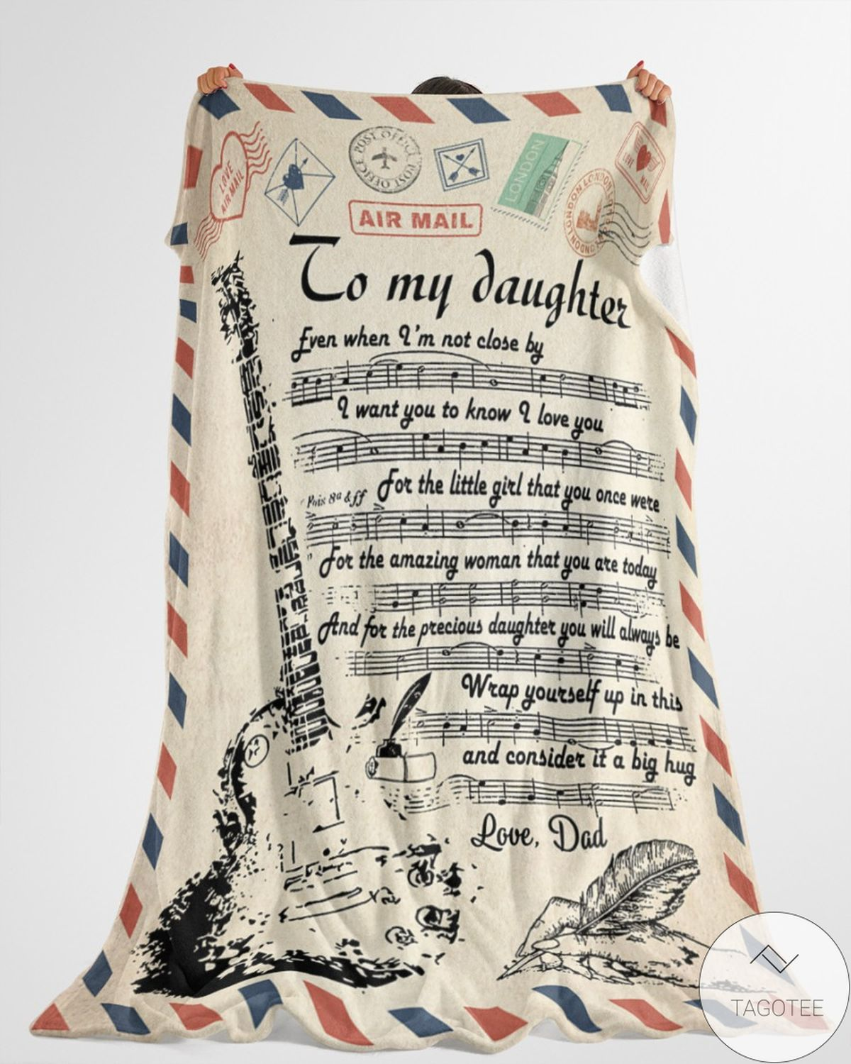 Hot Air Mail To My Daughter Guitar I Want You To Know I Love You Blanket