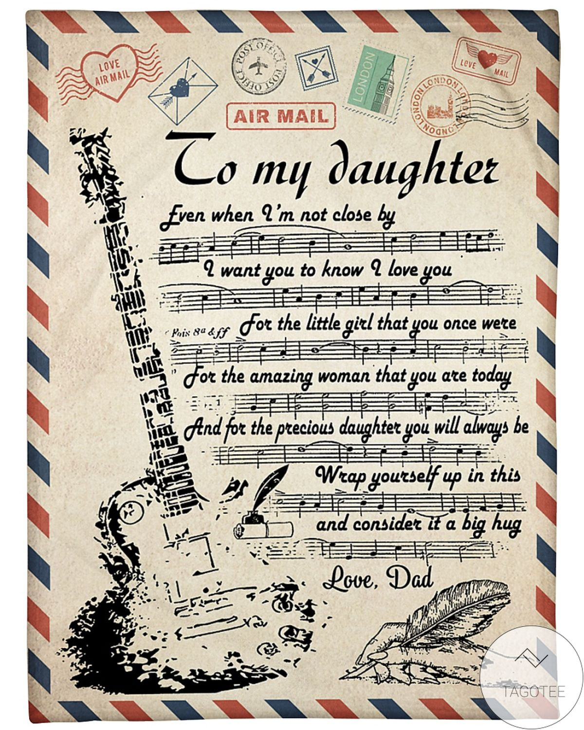 Air Mail To My Daughter Guitar I Want You To Know I Love You Blanket