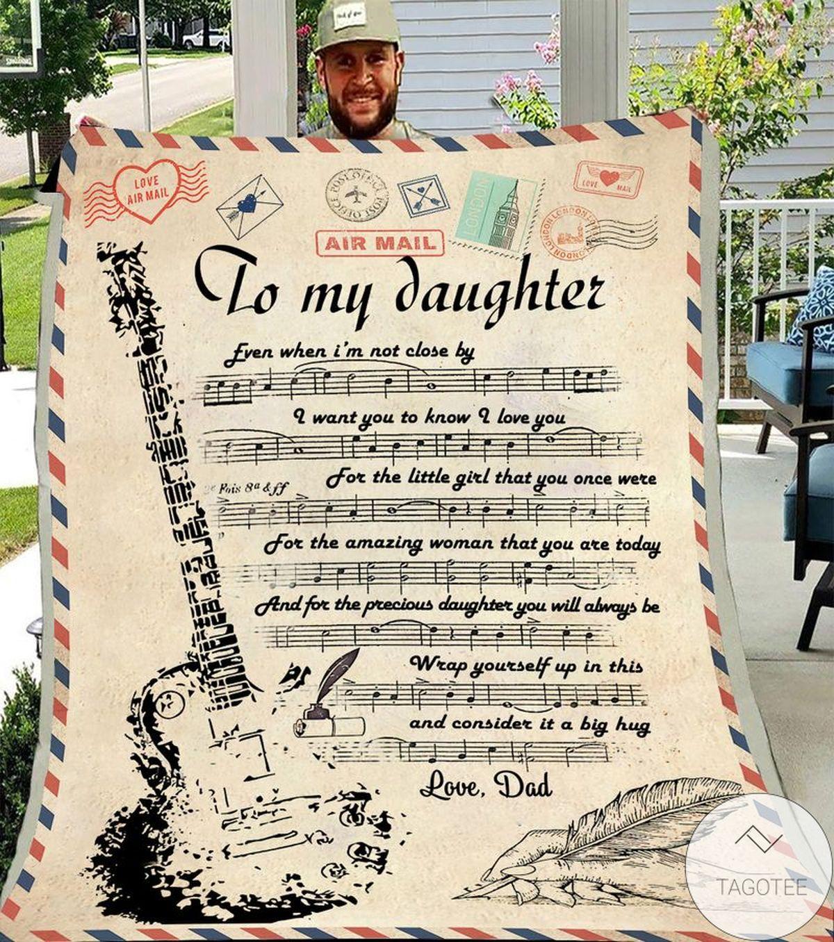 Air Mail To My Daughter Guitarist Fleece Blanket